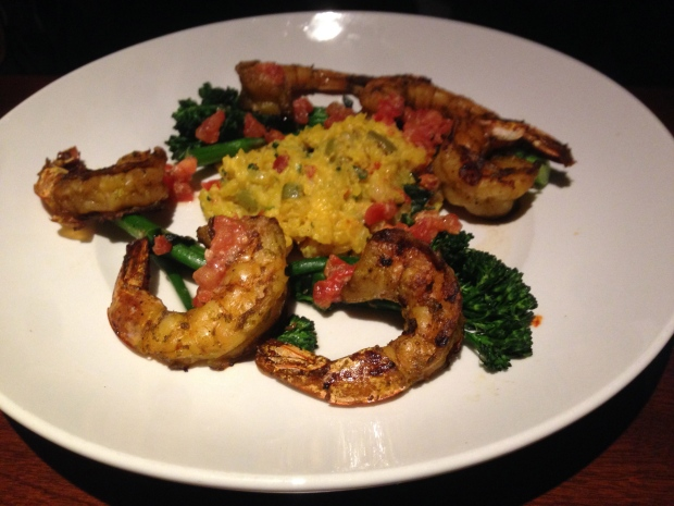 Mesquite-grilled garlic shrimp, saffron-chorizo risotto