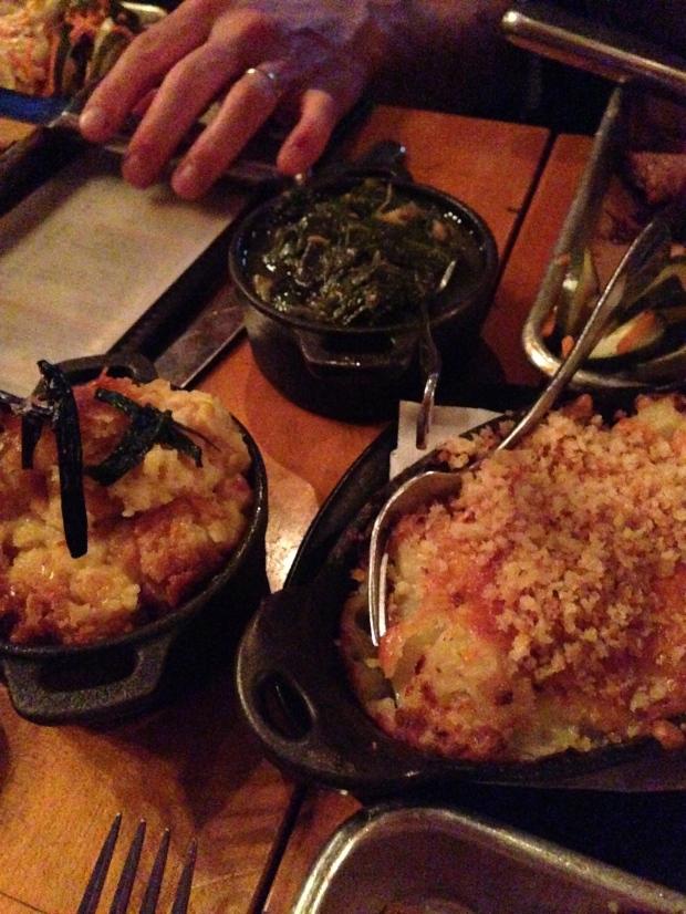 Gina's Potatoes, Corn Pudding, Collard Greens
