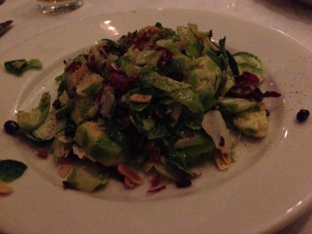 Brussel Sprout salad, currants, pancetta