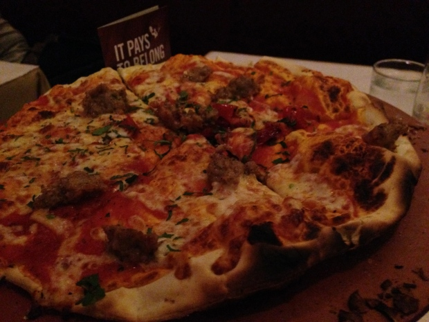 Sausage pizza, roasted red peppers, fontina cheese