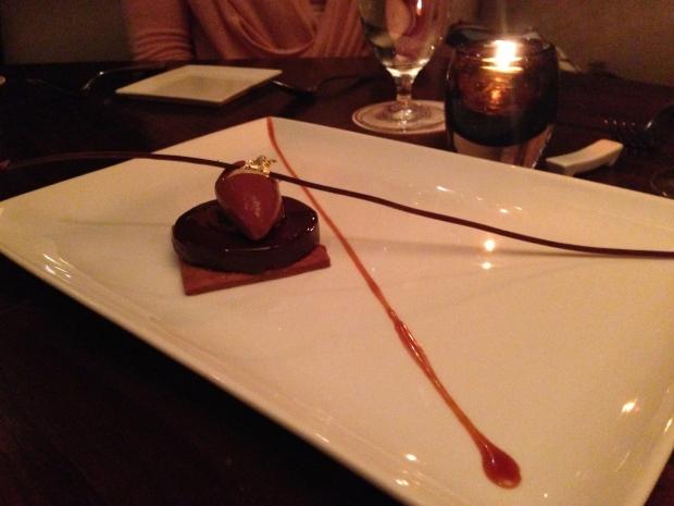 Chocolate tarte with raspberry sorbet