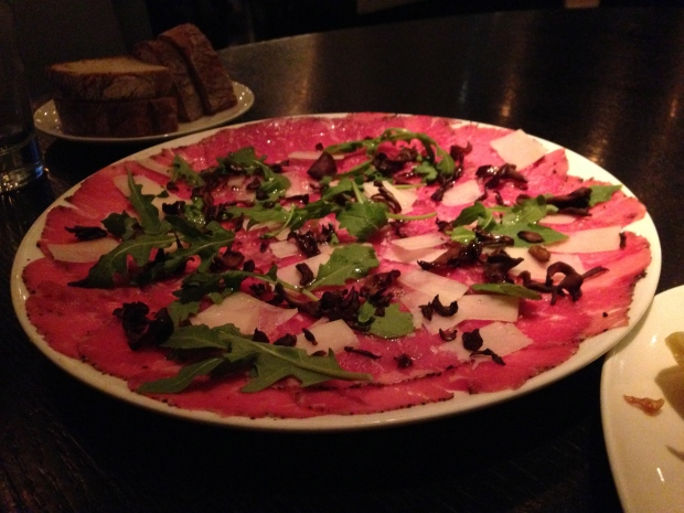 Beef carpaccio, crispy mushrooms, pecorino