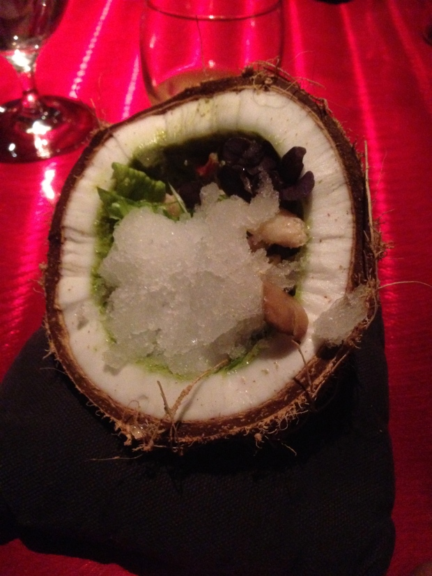 Coconut with crab, green chil paste